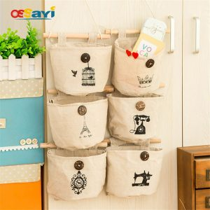 1pcs Wall Mounted Storage Bags 6 Patterns With Sticks Bathroom Kitchen Supplies Cotton Combined Door Behind Wall Hanging Bags