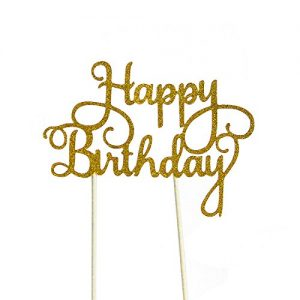 PALASASA Happy Birthday Cake Toppers. Sparkling Gold Glittery Birthday Cupcake Picks. Birthday Party Decorations