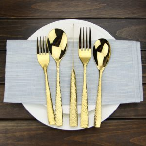 Luxury Gold Cutlery Set 5-Piece High Polishing Glisten Stainless Steel Dinnerware Set For Home Hotel ect Dishwasher-safe
