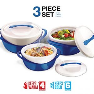Pinnacle Casserole Dish – Large Soup and Salad Bowl Set – Insulated Serving Bowl With Lid – 3 Pc. Set Blue