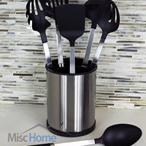 Misc Home 6 Piece Stainless Steel Kitchen Utensil Set with Rotating Cooking Utensil Holder – Black