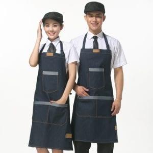 17 Hot Cute Vintage Flirty Womens Bowknot Kitchen Restaurant Denim Apron Cafe Bar Bib Apron Dress Pocket Gift Dropshipping