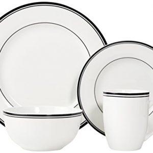 AmazonBasics 16-Piece Cafe Stripe Dinnerware Set, Service for 4 – Black