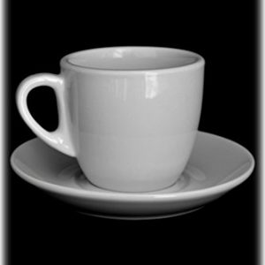 European Cafe Set 4 White Porcelain 8oz Coffee Latte Cappuccino Cups with Saucers