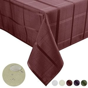 Remedios 60 x 84 inch Plaid Rectangular Oblong Polyester Waterproof Spill proof Tablecloth for Restaurant Kitchen Dining Party Banquet, Brick