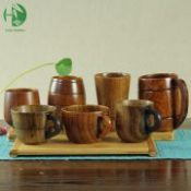 Varied wooden tea cups with handle tradition of coffee milk beer natural handmade vintage wood tableware creative gifts