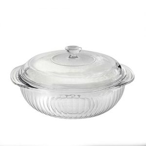 Pyrex Sculpted Casserole with Glass Lid, 2 quart, Clear