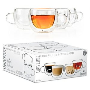Tealyra – UNIVERSE 8-ounce – Set of 4 – Double Wall Glasses With Handle – Perfect Clear Cups – Tea – Coffee – Cappuccino – Heatproof Insulating – Keeps Beverages Hot – Gift Box – 230ml
