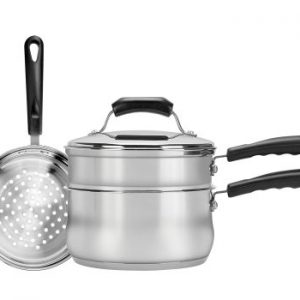 Range Kleen 4-Piece 3-Quart Sauce Pan with Lid, Steamer and Double Boiler Insert