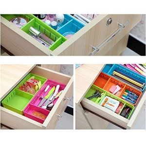 Drawer Organizer,SmartMYhome Adjustable Draw Cabinet Storage Organizer Bins Flatware Utensil Holder Utensil Tray Storage Units for Home Kitchen Storage Organization, Set of 4 (Multi-color)