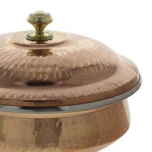 Indian Serveware Copper Serving Bowl Tureen with Lid 1 Liter