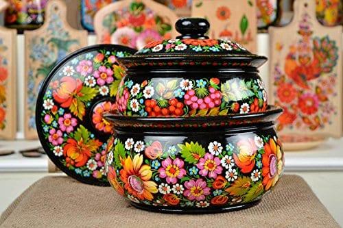 Wooden Soup Tureen Handmade Designer Pot Unique Petrykivka Painting Kitchenware
