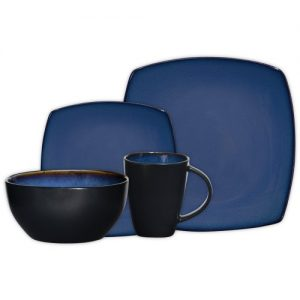 Gibson Soho Lounge 16-Piece Square Reactive Glaze Dinnerware Set,  Blue