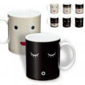 Magic color change Morning Mug coffee tea ceramic mug Black colour smile face black white birthday gift P50