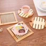 Hot Sale 4PCS Bamboo & Wood Anti-skid Cup Mat Coasters Bowl placemats kitchen Table Accessories