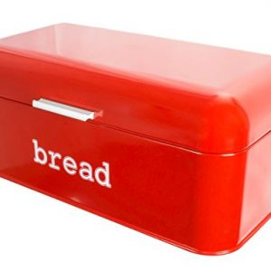 Bread Box For Kitchen – Bread Bin Storage Container For Loaves, Pastries, and More – Retro / Vintage Inspired Design – Red – 16.75 x 9 x 6.5 Inches