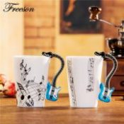 Creative Guitar Music Bone China Mug 240ml Ceramic Coffee Cup Porcelain Tea Cup Zakka Novelty for Gift Cafe Office Home Decor