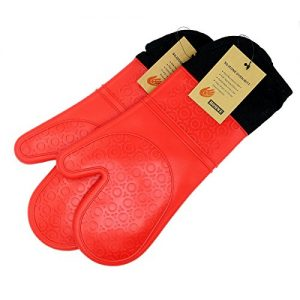 Extra Long Professional Silicone Oven Mitt – 1 Pair – Oven Mitts wit...